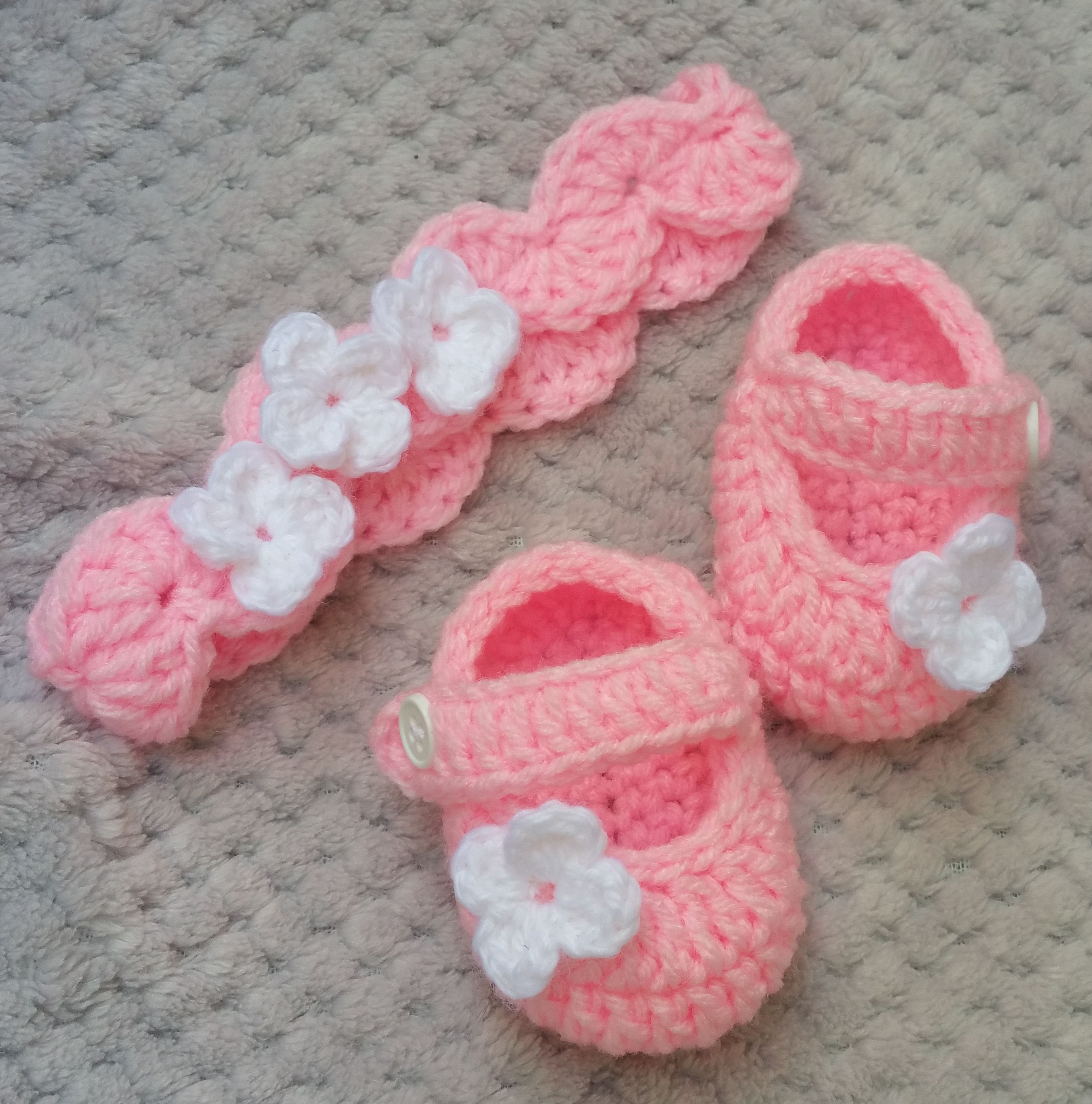 Promenade Pink Baby Girl Shoes Baby Headband Set Pink Crochet Girl