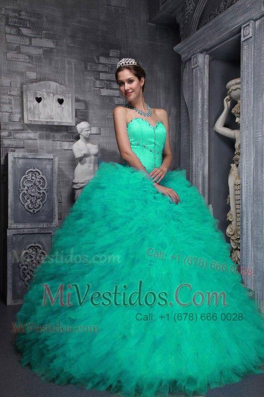 736cfb8d0 vestidos de 15 años esponjados verde - Buscar con Google