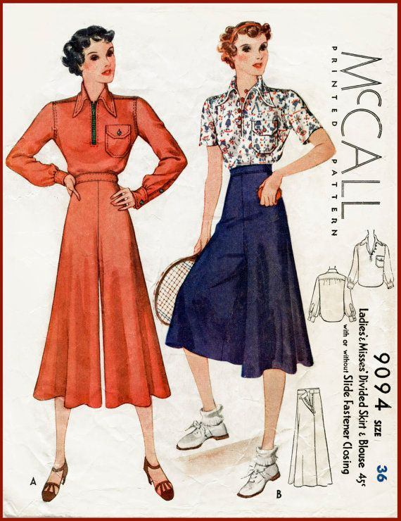 1930s 30s vintage sewing pattern blouse & wide leg sports trousers ...