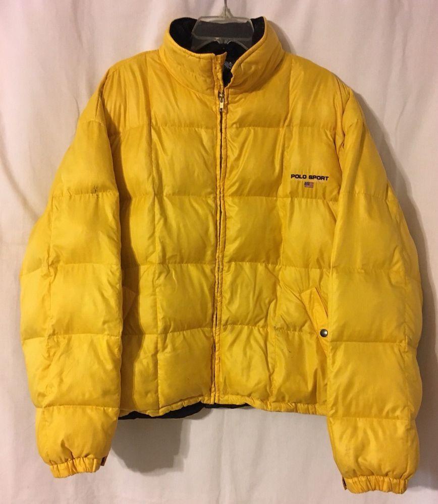 Vintage 1990 S Polo Sport Down Fill Yellow Puffer Jacket Coat Xl Ralph Lauren