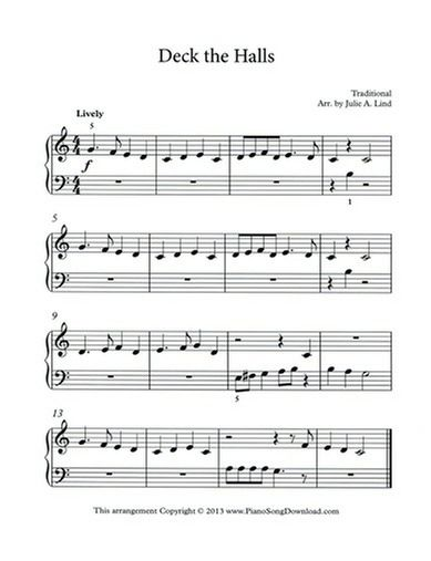 deck the halls free christmas sheet music for piano - Free Christmas Sheet Music