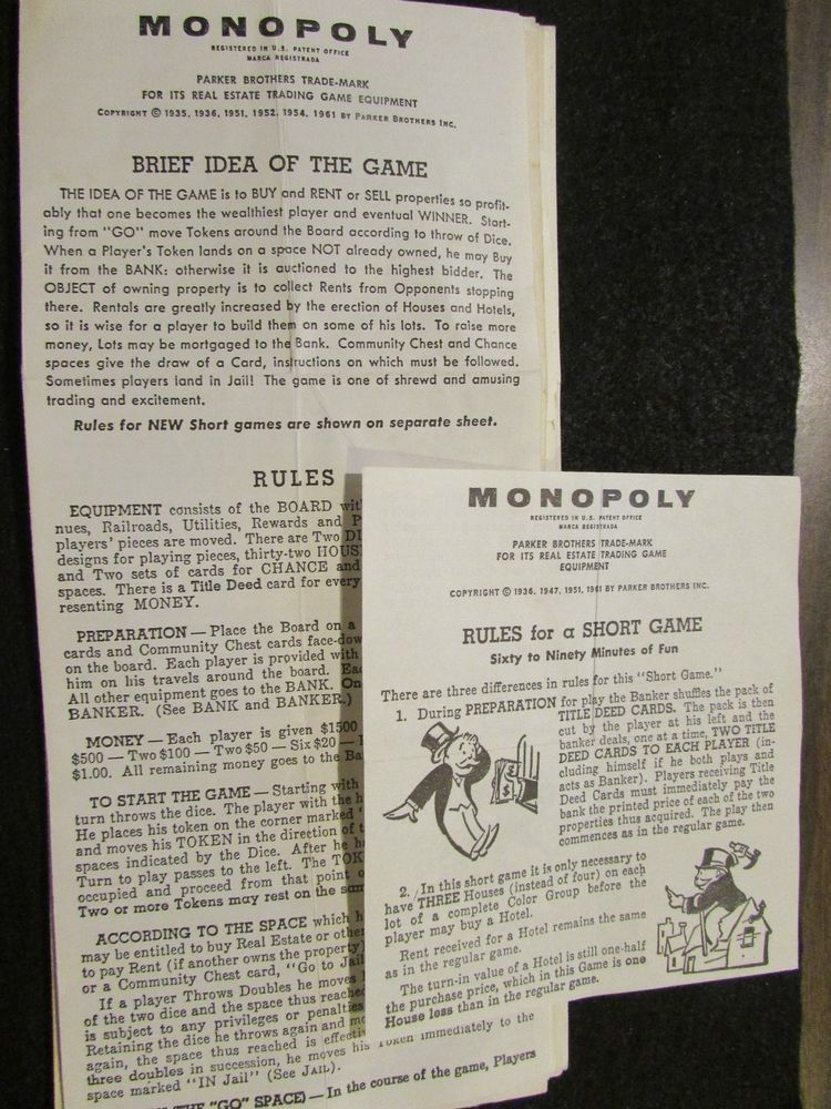 1961 Monopoly Rules And Directions Includes Rules For A Short Game