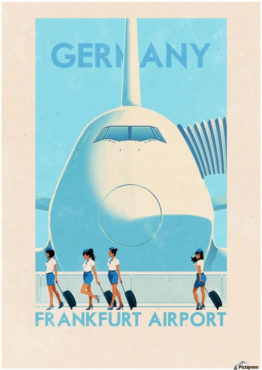 Germany Frankfurt Airport vintage poster in 2020 Vintage