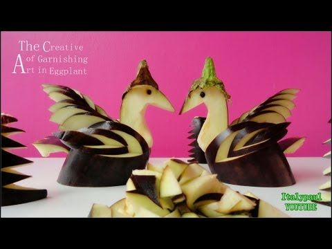 Eggplant Swan Bird Carving Material: 1 purple eggplants One lime juice or Salt water Equipments Carving knife Directions: Cut each eggplant from the tip almo...TUTORIAL