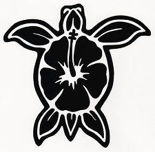 Custom Tropical Sea Turtle Hibiscus Flower Computer Cut Vinyl Car Decal Sticker