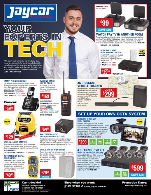 Jaycar Electronics Catalogue 1 - 26 February 2017 - http://olcatalogue.com/je/jaycar-electronics-catalogues.html