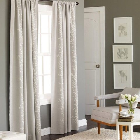 target: threshold™ embroidered vine light blocking curtain panel