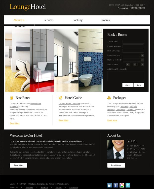 Free Website Template With Accordion For Hotel Business Free Psd Template Website Psd Template Free Web Design Services