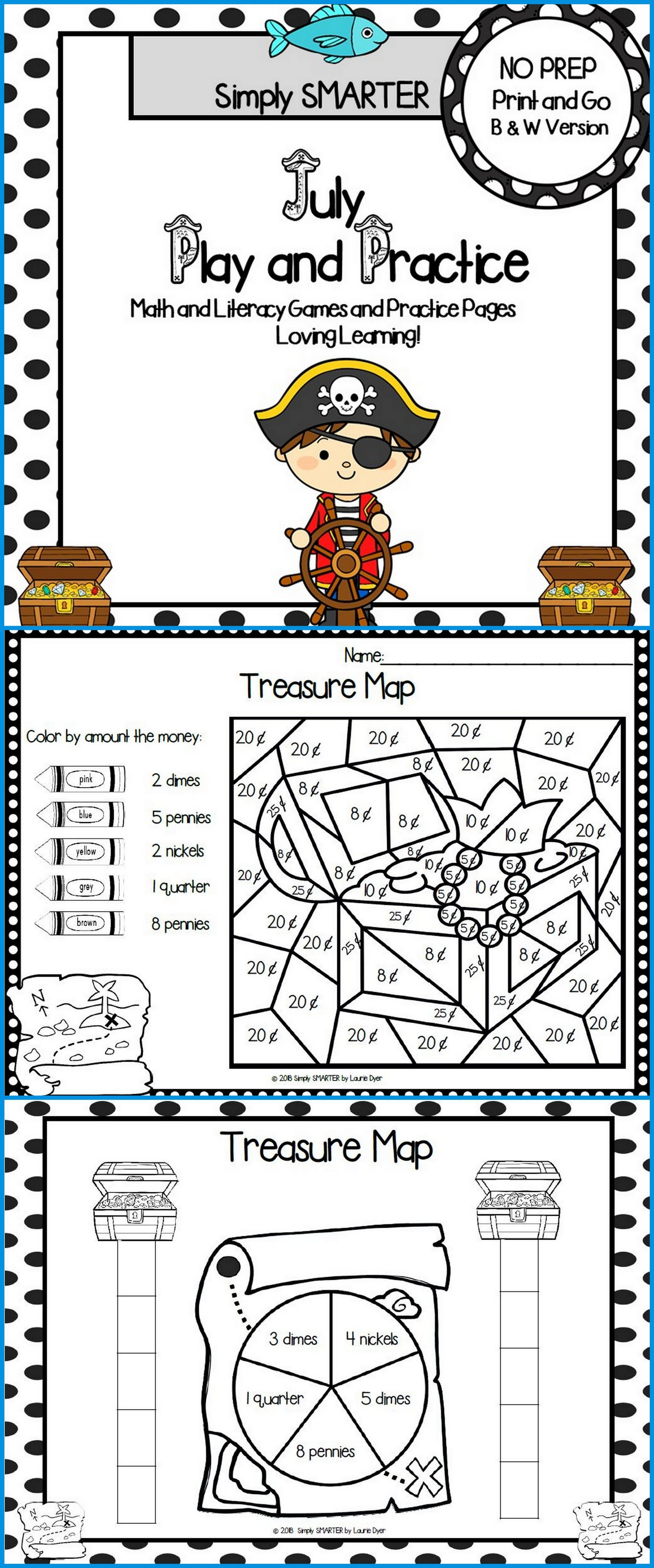July Play And Practice No Prep Math And Literacy Games