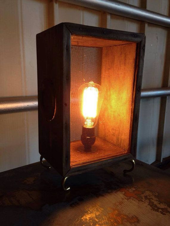 Unique table lamp, upcycled from a vintage cricket box on Etsy, $125.00