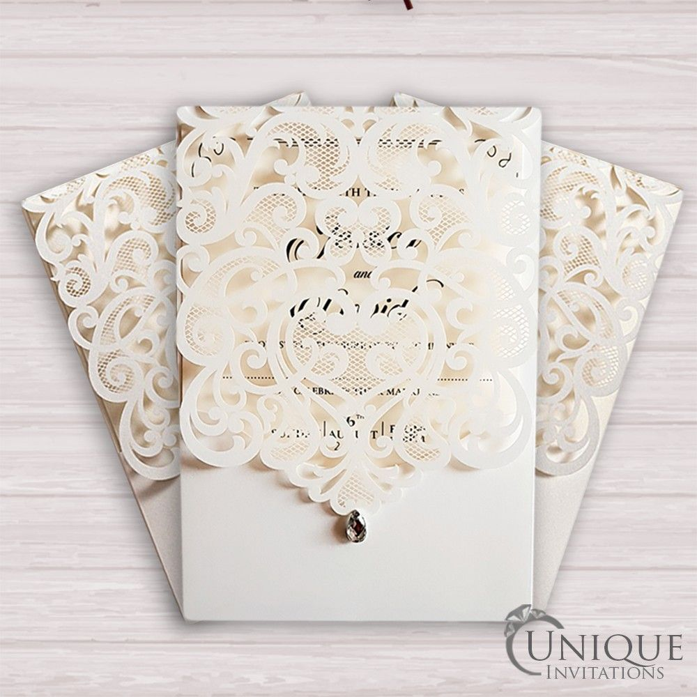 Laser cut wedding invitations with diamante. Gorgeous pearlescent ...