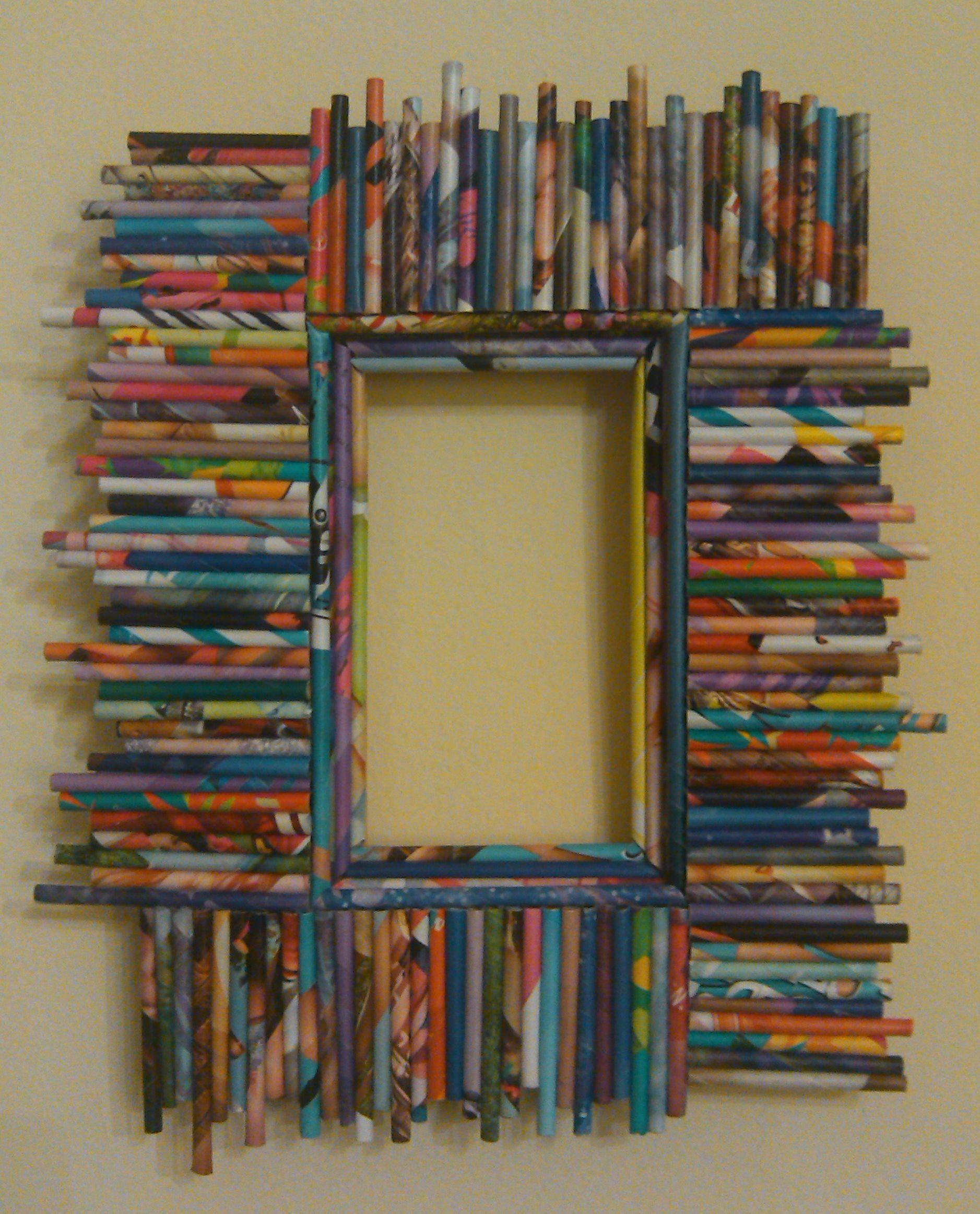 Portaretrato, marco decorado con papel de revistas - Magazine paper ...