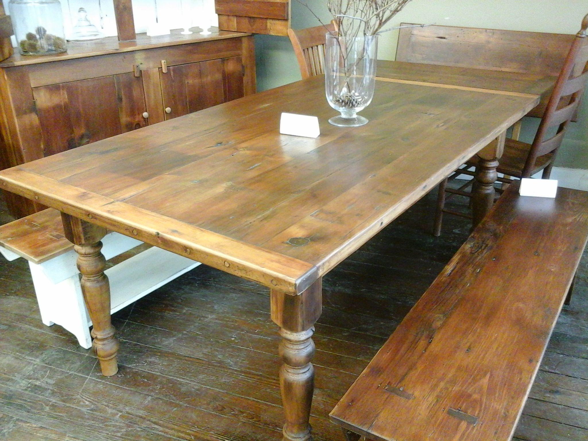 barn wood farm table and barn wood benches Reclaimed
