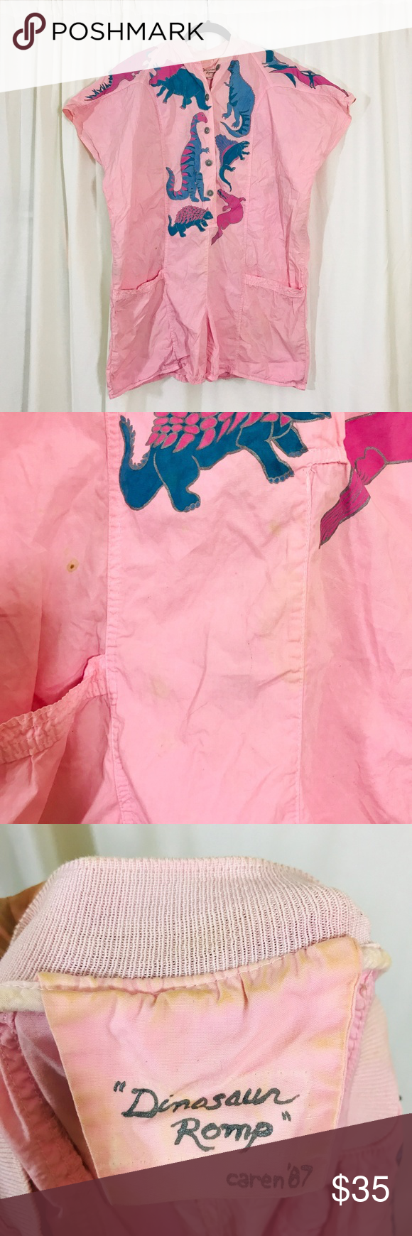 1980s Retro | Dinosaur Novelty Print Romper 1980s Vintage Retro | Pastel Pink Dinosaur Novelty Print Romper Jumpsuit up for grabs!  Size XL.   In good use condition! Has some spots from over the years(shown in pics above). This romper is literally the best thing I've ever seen. I'm so excited for who ever this goes home with! This piece is from 1987 and you bet you can rock this amazing jump suit anytime, anywhere.  This romper is pale pink & features a bitchin dino print.  Also features a butto #dinosaurpics