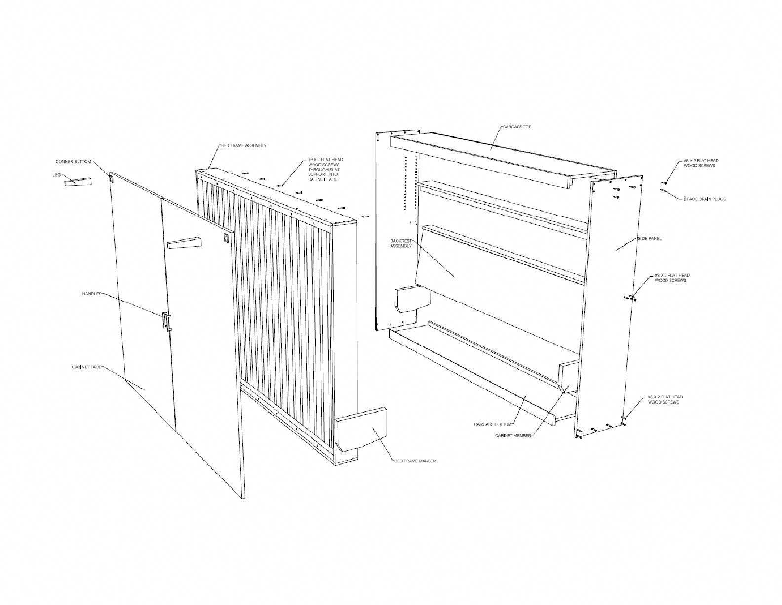 Horizontal murphy bed plan queen wall bed plans diy furniture build
