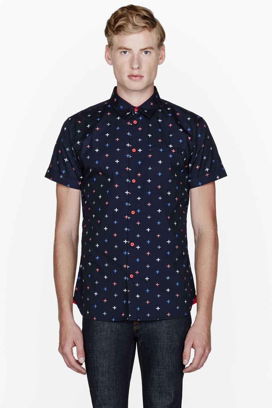 05ebcd29e4f MARC BY MARC JACOBS    Navy blue morris star buttoned shirt 32068M040003  Short sleeve shirt in dark navy blue. Multicolor cross pattern printed  throughout.