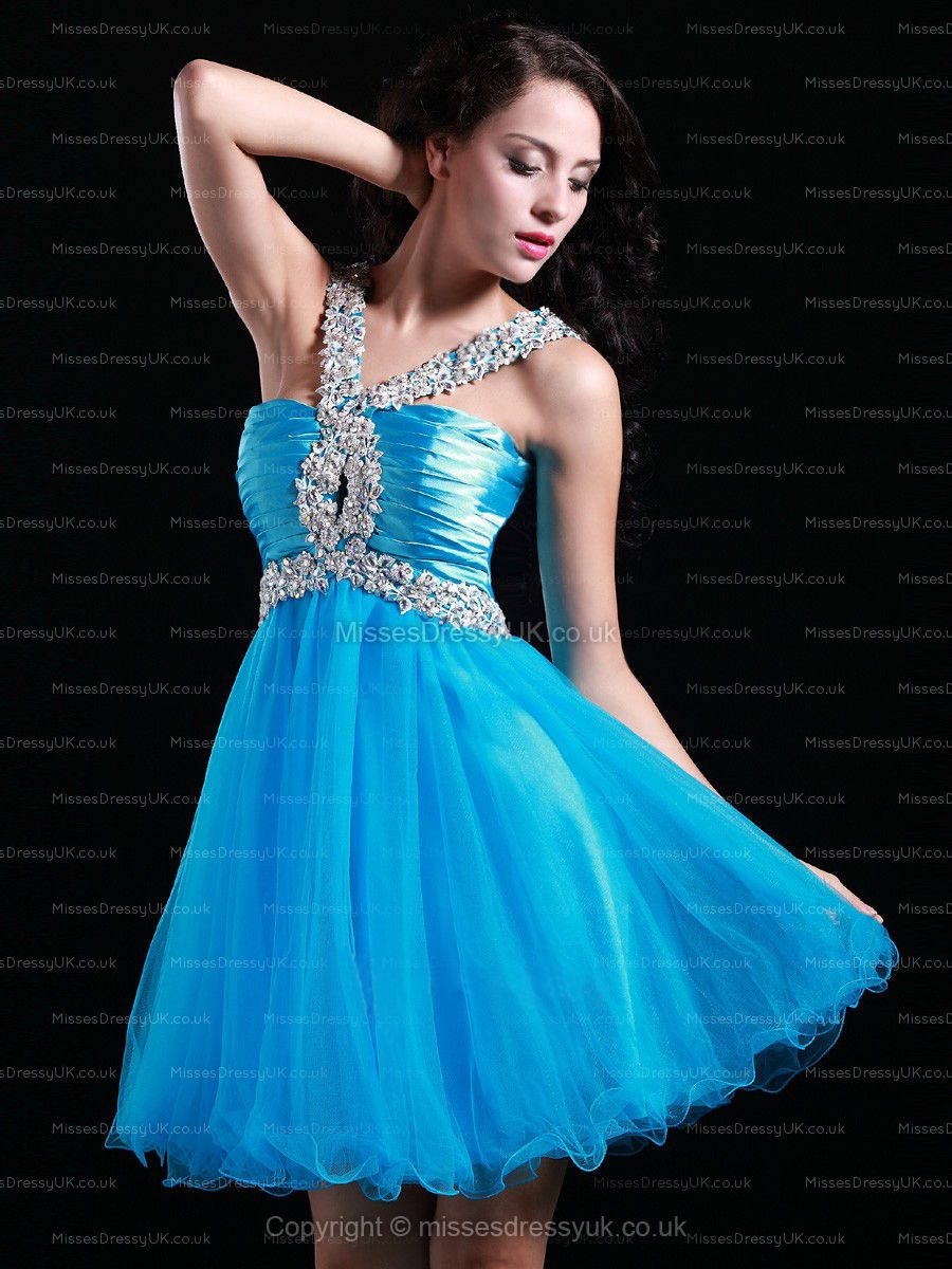 Aline straps tulle shortmini blue appliques homecoming dress