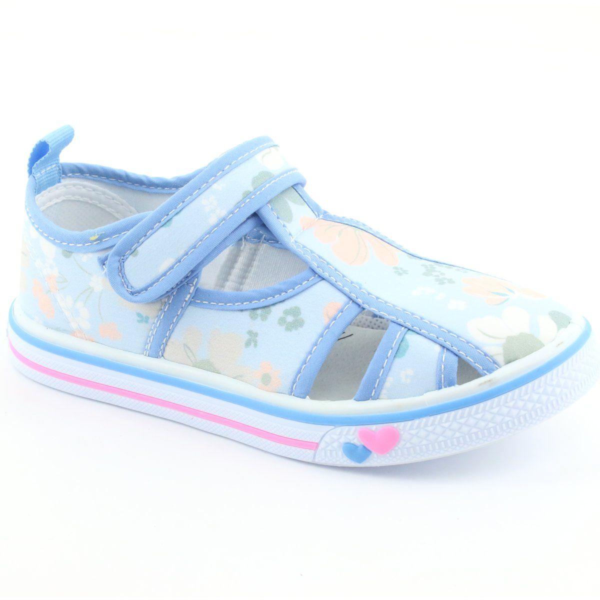 American Club Buty Dzieciece Na Rzepy Blekitne Ten 27 19 Biale Niebieskie Zielone Childrens Shoes Childrens Slippers Kid Shoes