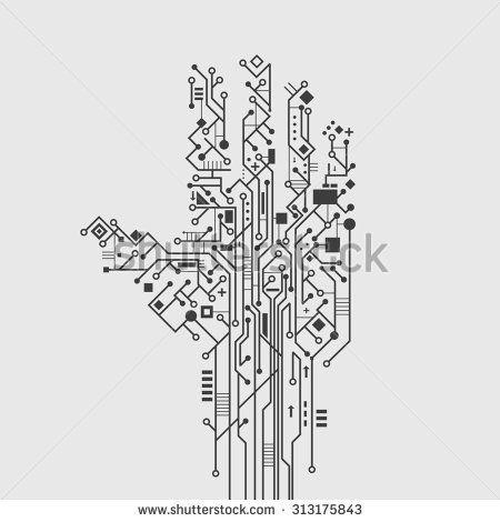 Computer circuit board in hand shape creative technology
