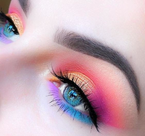 colorful rainbow 30 eye makeup