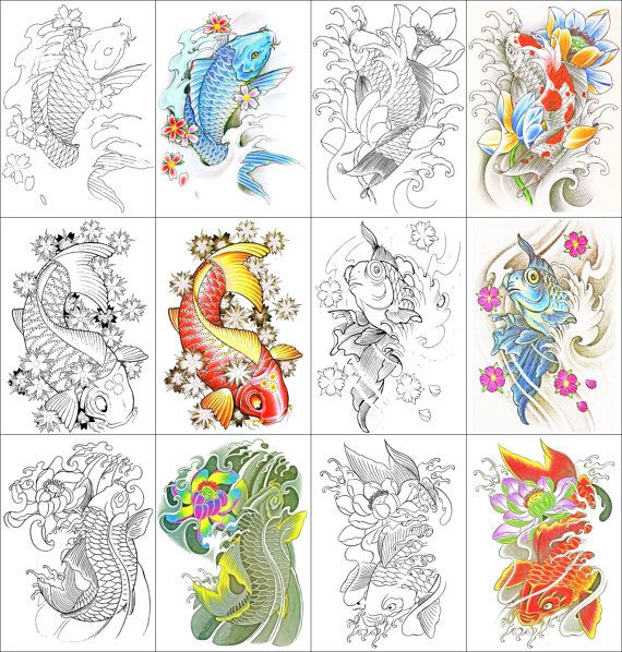 Koi Fish Coloring Book 24 Printable Pages
