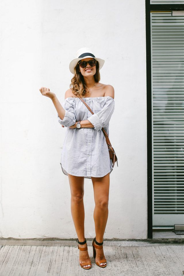 3214f00c63c2  roressclothes closet ideas  women fashion outfit  clothing style apparel  Off-shoulder T-shirt Dress and High Heels via