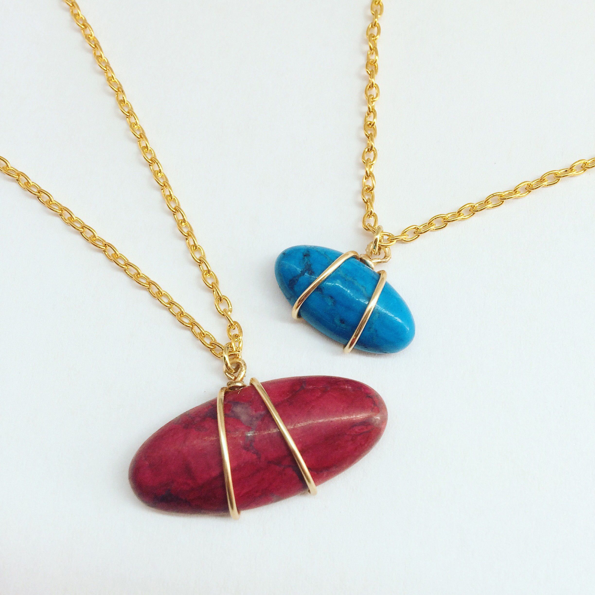 Gold Plated Wire Wrapped Cabochon Gemstone Layering Necklace Set ...