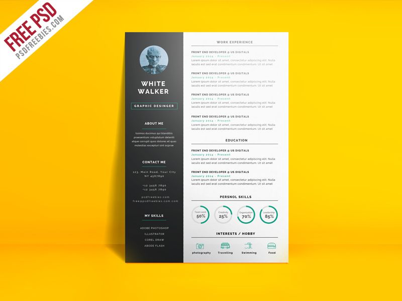 Simple And Clean Resume Cv Template Free Psd Psdfreebies Com Cv Template Free Best Free Resume Templates Simple Resume Template