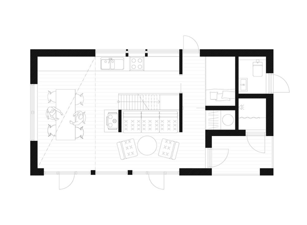 Bornstein Lyckefors Builds Pale Green Cabin Granholmen In Sweden Floor Plans Cottage Wooden Cottage