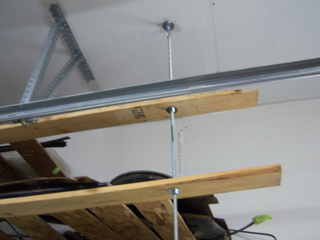 Overhead garage storage looking to build overhead for Diy suspended shelves