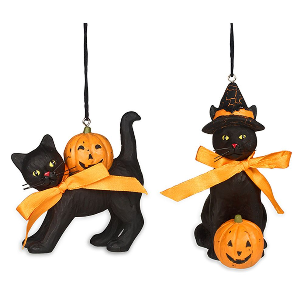 Black Cat Halloween Ornaments Set of 2