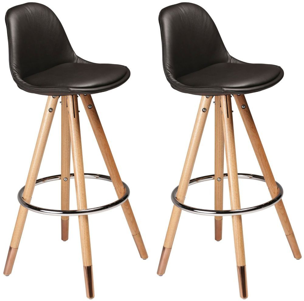 Orso Black Leather Bar Stool With Copper Cap Oak Legs Pair