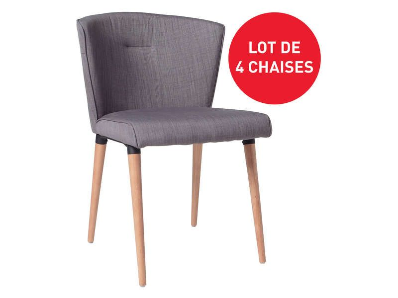 Lot de 4 chaises en tissu HEIDI coloris gris Conforama