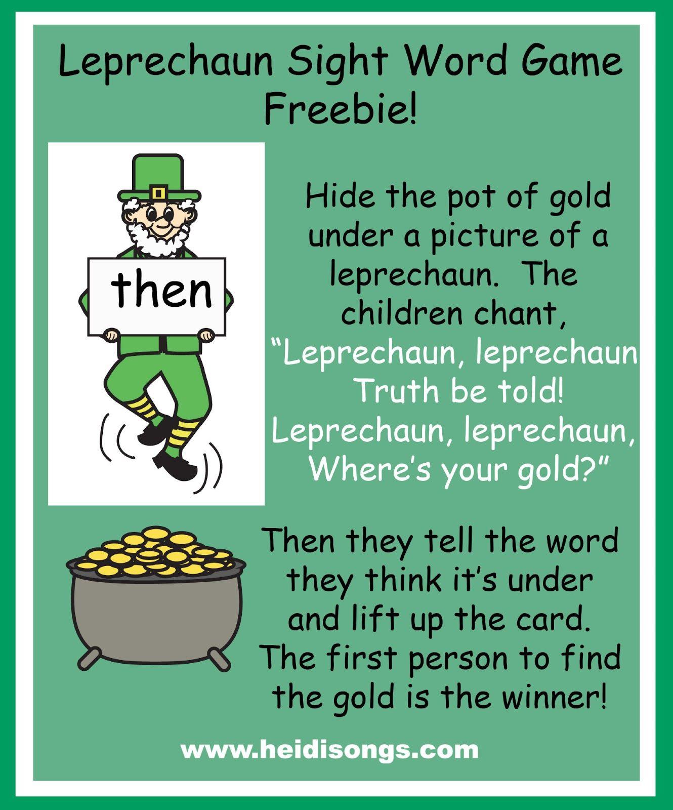 Heidisongs Resource Leprechaun Sight Word Game Freebie