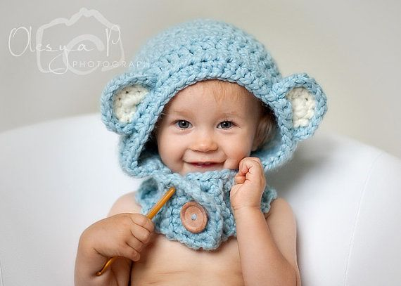 495 Pdf Crochet Pattern Bear Hood Cowl One Size Toddlerchild
