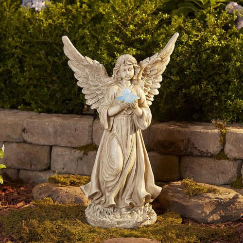 Large Garden Angel Statue Holding Solar Light Outdoor Patio Lawn Ornament