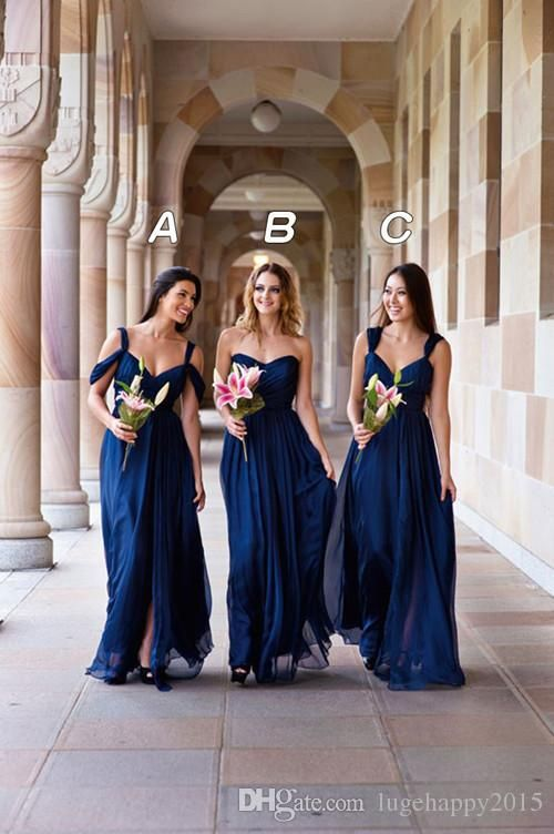 These Navy Blue Bridesmaids Dresses Are Gorgeous Doesn Even Need To Be Shortened For Future Weddings Because It
