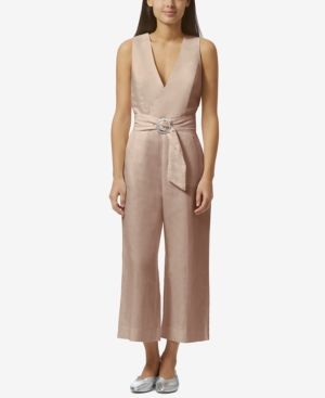 Avec Les Filles Belted Open-Back Jumpsuit - Pink 12