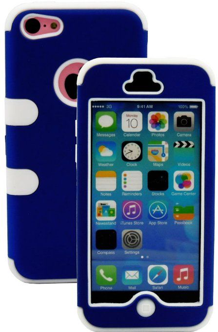 Amazon.com: myLife (TM) White + Royal Blue Flat Color Style 3 Layer (Hybrid Flex Gel) Grip Case for New Apple iPhone 5C Touch Phone (Externa...