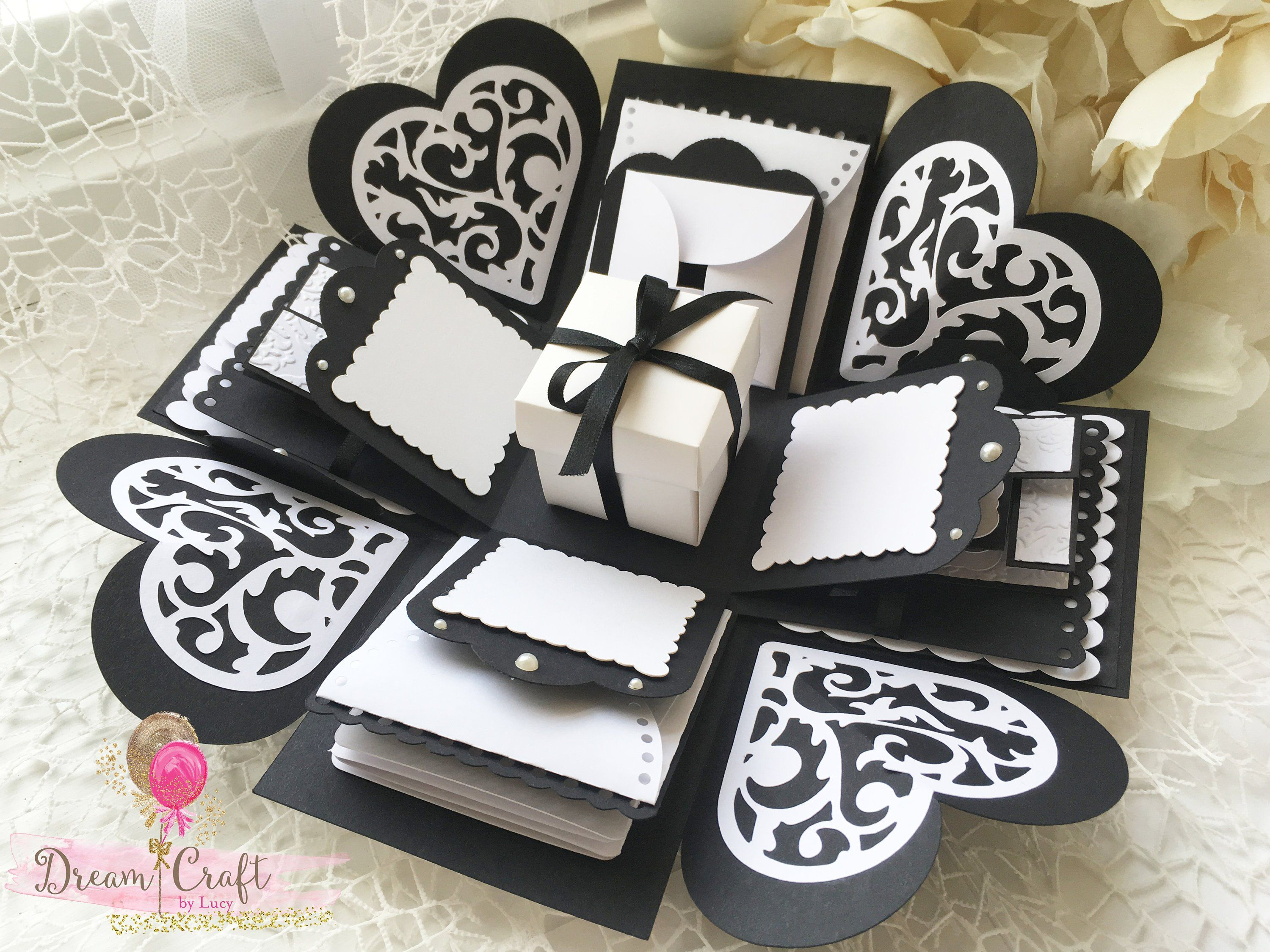 Exploding Box Black And White Photo Explosion Box Etsy Explosion Box Handmade Invitations Exploding Gift Box