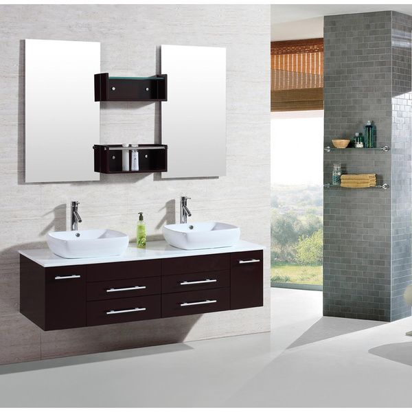 Kokols Bring You 60 Inch Wall Mount Floating Cabinet Bathroom Vanity Double  Sink With Mirror.