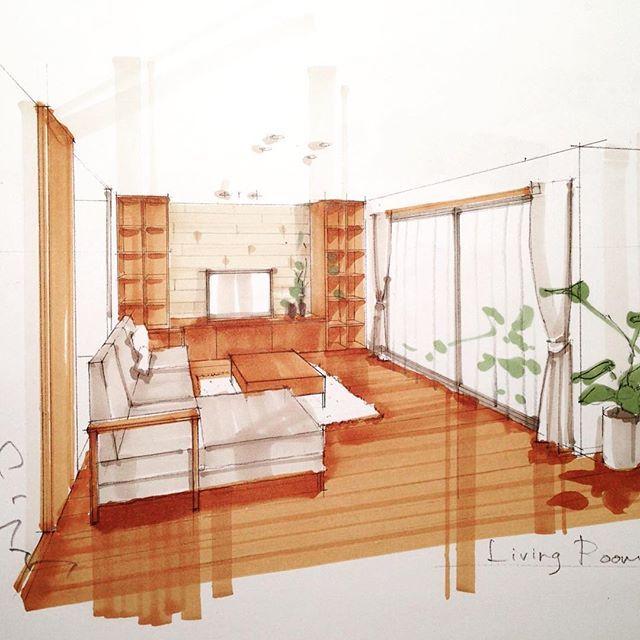 色塗り練習 ミディアムトーン 建築パース 内観パース 手描き