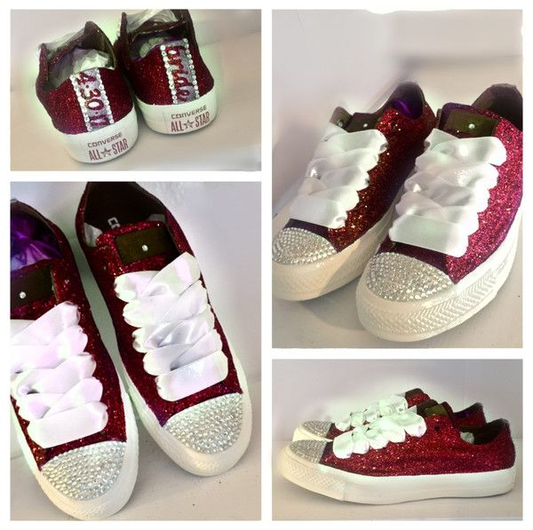 Sparkly Burgundy Maroon Red Glitter Crystals Converse All Star wedding  bride personalized shoes - Glitter Shoe Co 86fb547e593a