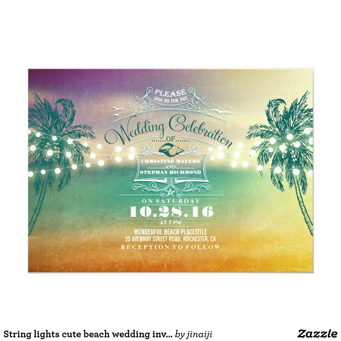 String lights cute beach wedding invitations | Beach wedding ...