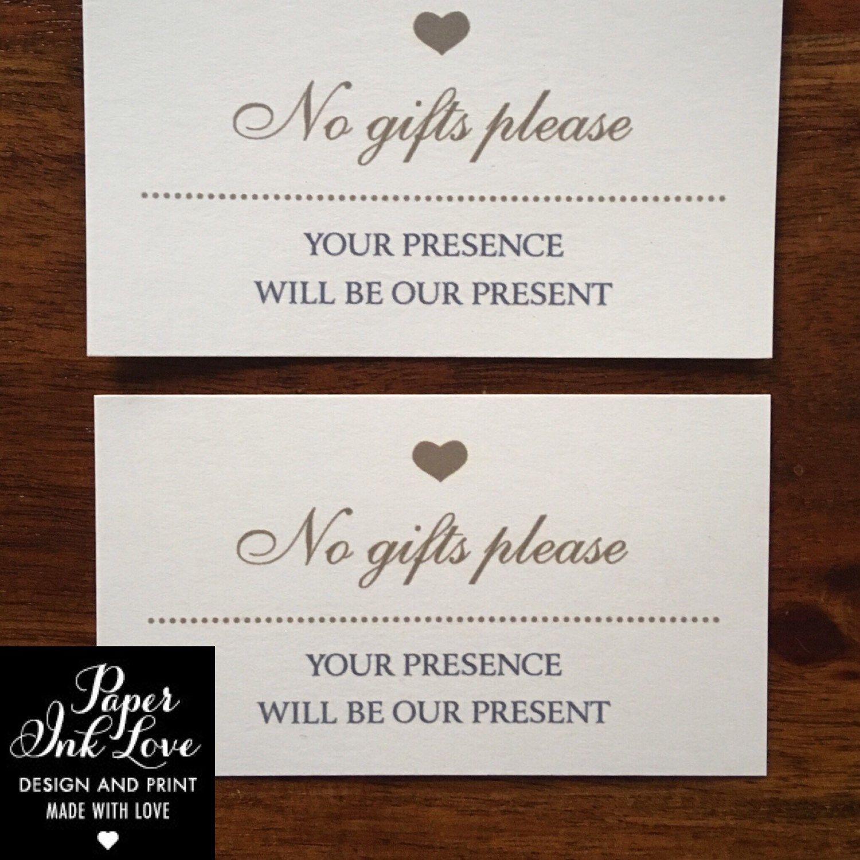 Wedding Gift No Registry: Wedding Website Cards, Enclosure Cards, Wedding Hashtag