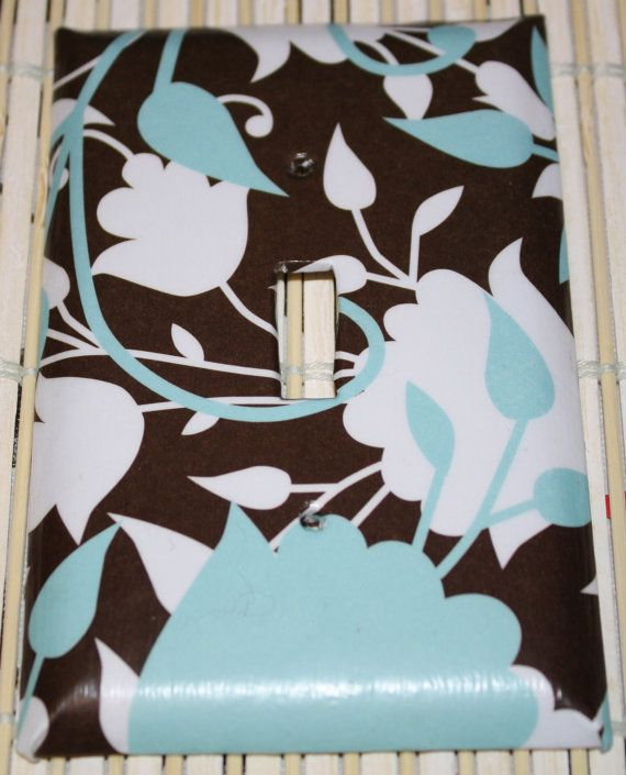 Chocolate Brown Blue & White Decorative Switchplate by pattichic, $6.75. Perfect accent to decorate your office, bedroom, den or even a modern baby boy room.