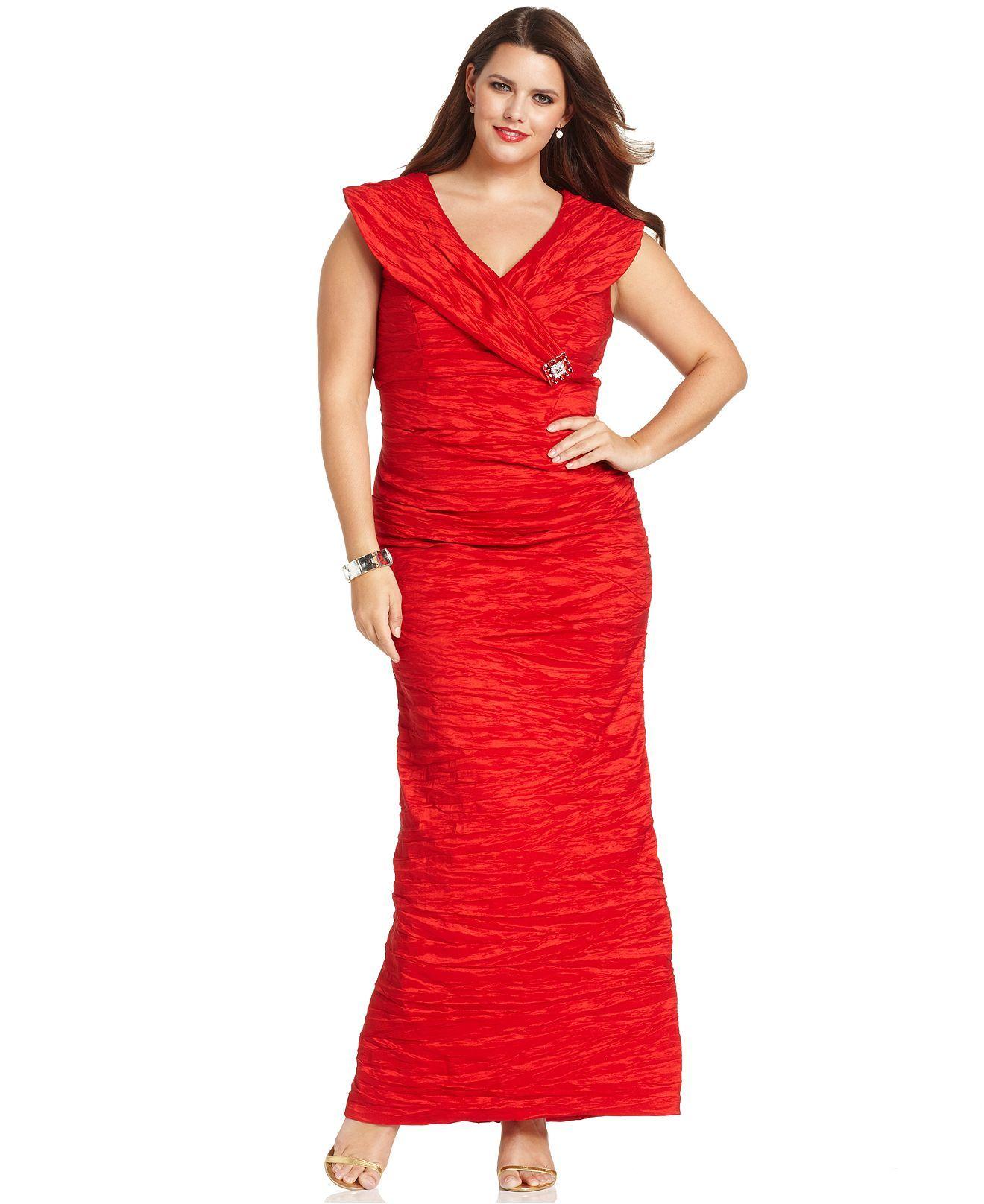 3ff5cac17445 Alex Evenings Plus Size Dress, Cap-Sleeve Portrait-Collar Evening Gown -  Plus Size Dresses - Plus Sizes - Macy's