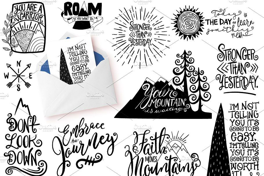 Motivational Quote Clipart Climb Quote Motivational Clipart Illustrations Drawing Quotes Hand Drawn Lettering Uplifting Phrases