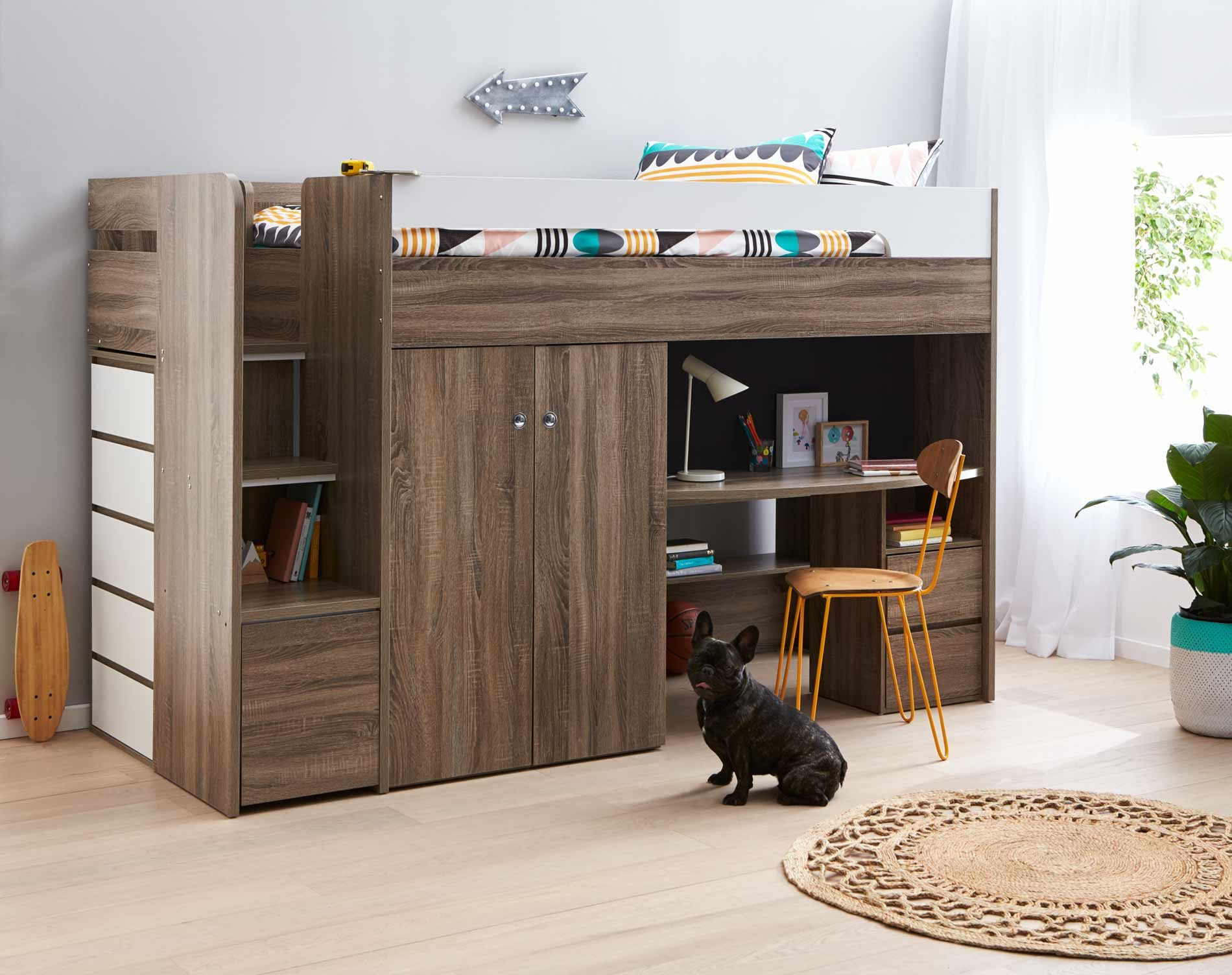 Quantum Loft Bed Desk Mocha Oak Bedroom Furniture Forty