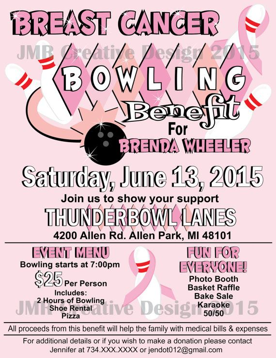 Breast Cancer Bowling Benefit Flyer, Fundraiser Flyer, Strike Out ...